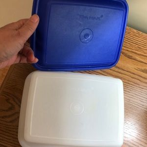 "Tupperware Kitchen - Tupperware 7x9x4"" blue raised top, clear bottom"
